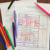 TIME BLOCKING WORKSHEET Struggling to fit more writing into your life? Use this worksheet to prioritize your everyday responsibilities and mark off space in your weekly schedule for each of them.